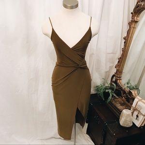 Boohoo khaki green wrap dress